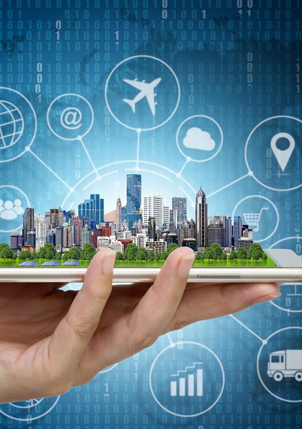 Smart city model on smartphone in women's hand holding with Abstract Blue Technology Background and world map. Binary Computer Code.